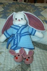 "[9/16/2004] Baby gift for a friend's shower.  I thought the ""bunny in bunny slippers"" concept was too cute for words!"